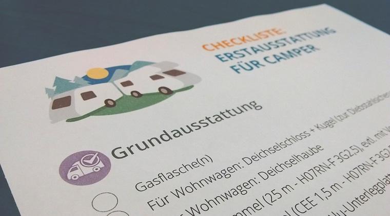 Checkliste Erstausstattung Grundausstattung Wohnwagen Wohnmobil