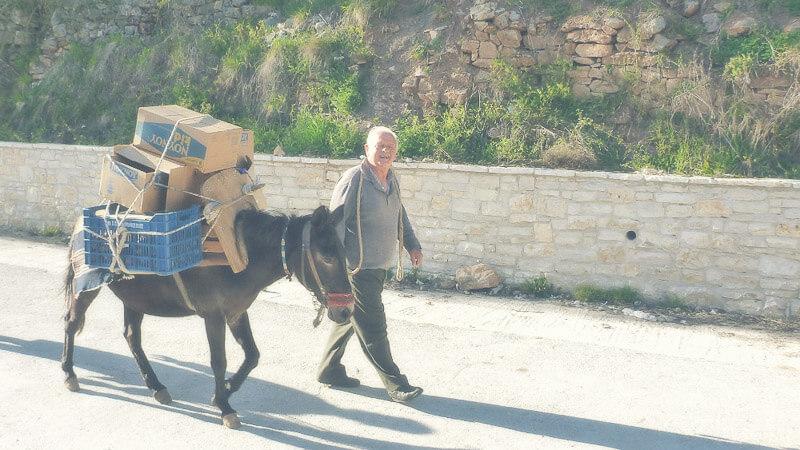 Mann mit einem Muli, Kommunikative Menschen in Griechenland